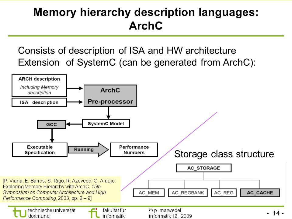 - 13 - technische universität dortmund fakultät für informatik p. marwedel, informatik 12, 2009 Optimization for exploiting processor-memory interface
