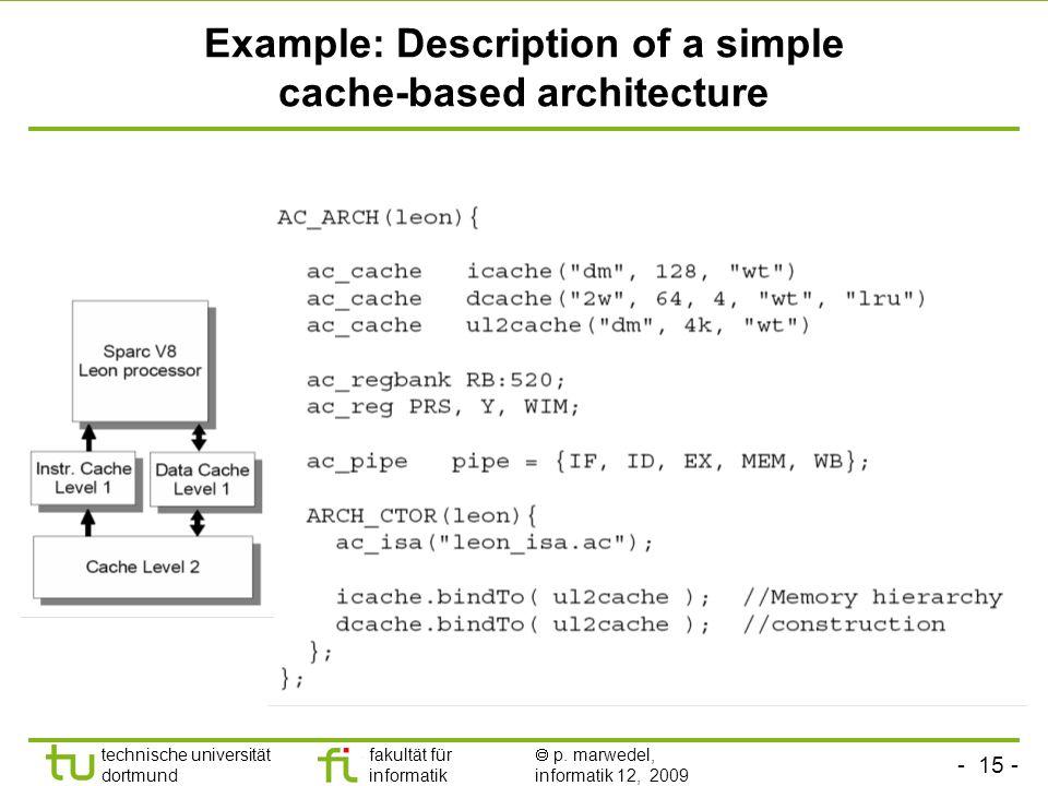- 14 - technische universität dortmund fakultät für informatik p. marwedel, informatik 12, 2009 Memory hierarchy description languages: ArchC Consists