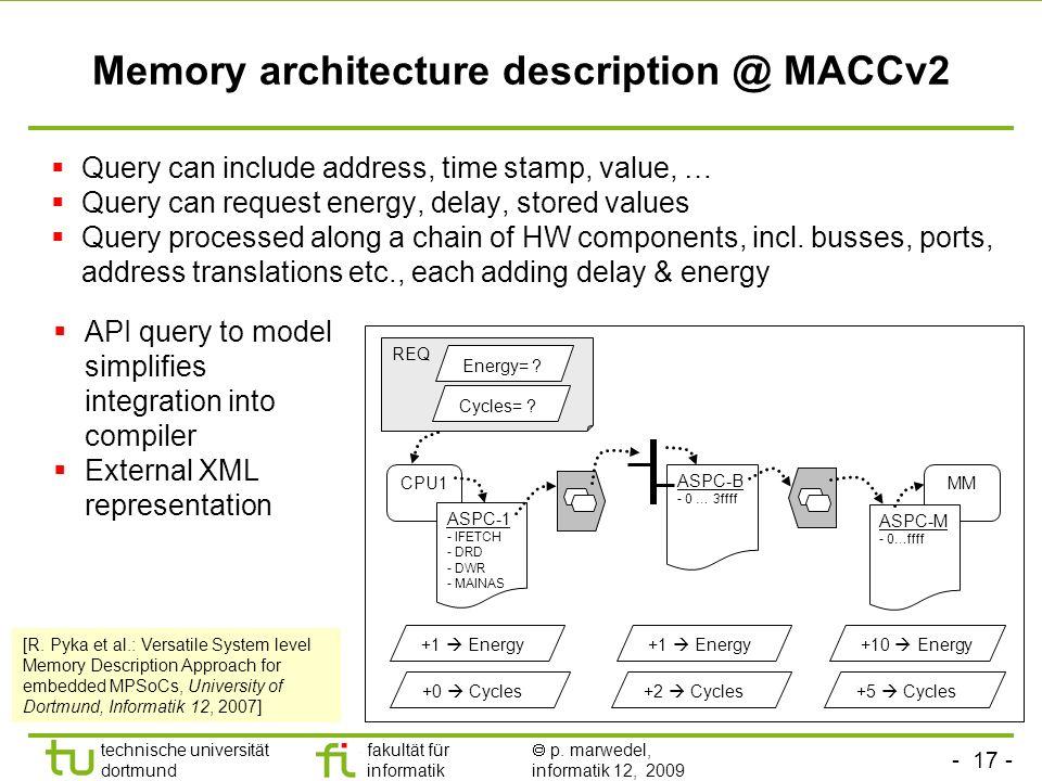 - 16 - technische universität dortmund fakultät für informatik p. marwedel, informatik 12, 2009 Memory Aware Compilation and Simulation Framework (for