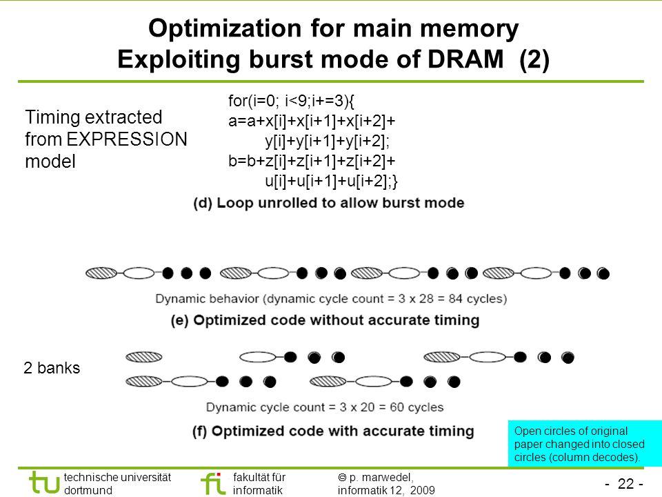 - 21 - technische universität dortmund fakultät für informatik p. marwedel, informatik 12, 2009 Optimization for main memory Exploiting burst mode of