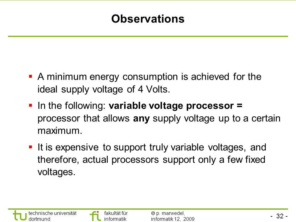 - 31 - technische universität dortmund fakultät für informatik p. marwedel, informatik 12, 2009 Case c): Optimal voltage E c = 10 9 x 25 x 10 -9 = 25