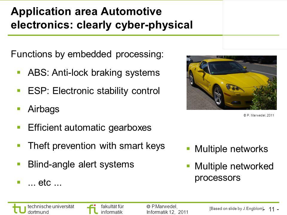 - 11 - technische universität dortmund fakultät für informatik P.Marwedel, Informatik 12, 2011 Application area Automotive electronics: clearly cyber-