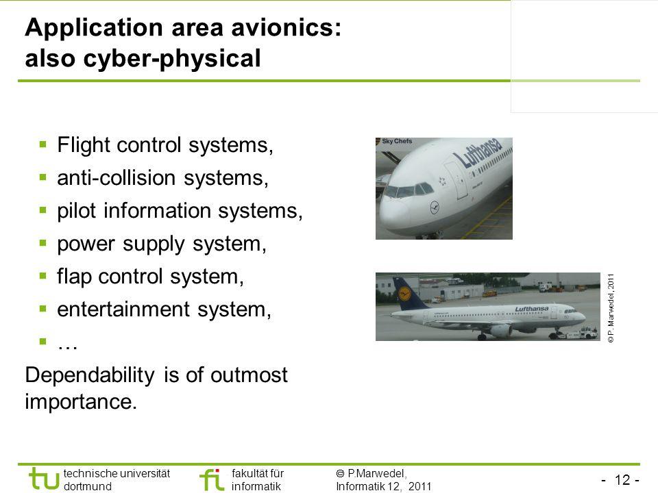 - 12 - technische universität dortmund fakultät für informatik P.Marwedel, Informatik 12, 2011 Application area avionics: also cyber-physical Flight c