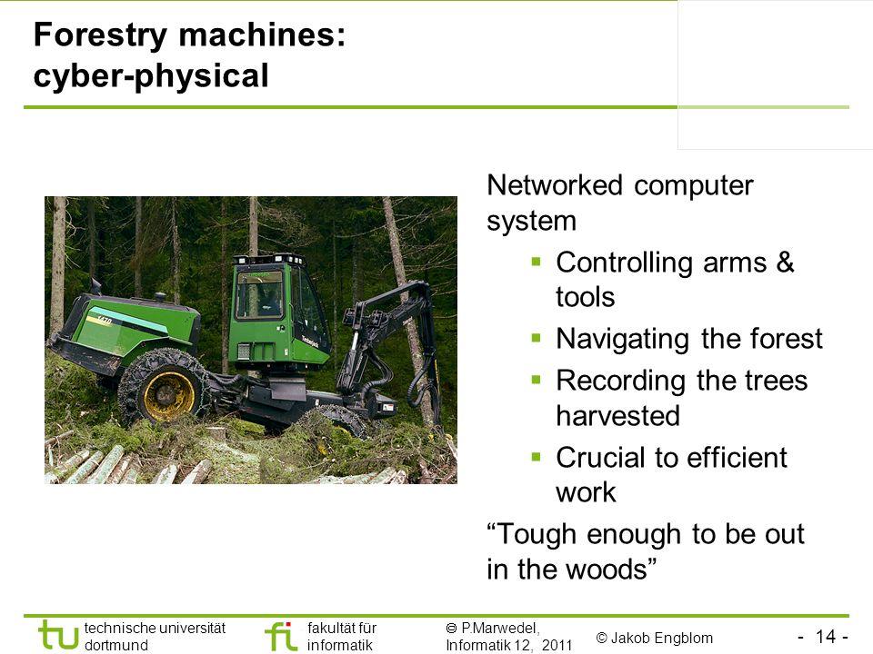 - 14 - technische universität dortmund fakultät für informatik P.Marwedel, Informatik 12, 2011 Forestry machines: cyber-physical © Jakob Engblom Netwo