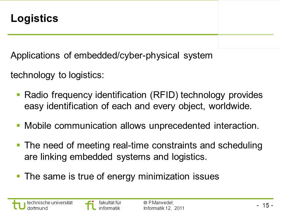 - 15 - technische universität dortmund fakultät für informatik P.Marwedel, Informatik 12, 2011 Logistics Applications of embedded/cyber-physical syste