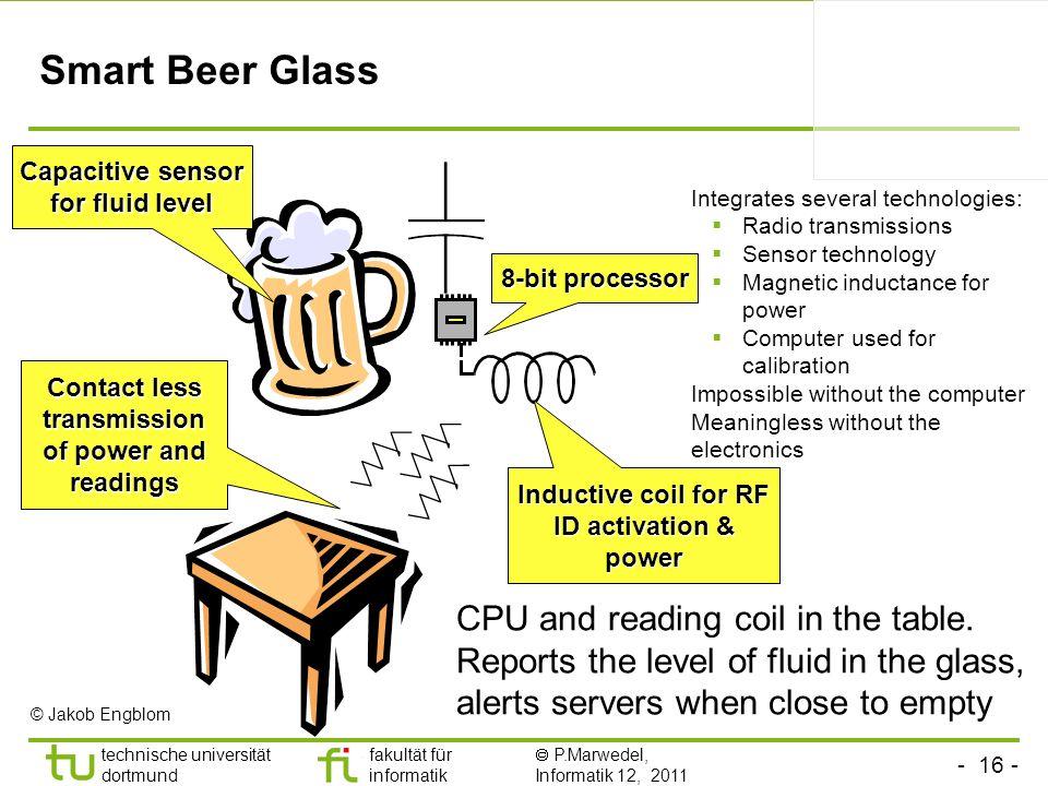- 16 - technische universität dortmund fakultät für informatik P.Marwedel, Informatik 12, 2011 Smart Beer Glass 8-bit processor Capacitive sensor for