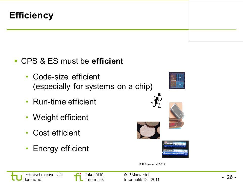 - 26 - technische universität dortmund fakultät für informatik P.Marwedel, Informatik 12, 2011 Efficiency CPS & ES must be efficient Code-size efficie