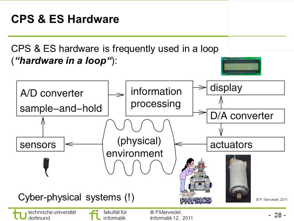 - 28 - technische universität dortmund fakultät für informatik P.Marwedel, Informatik 12, 2011 CPS & ES Hardware CPS & ES hardware is frequently used