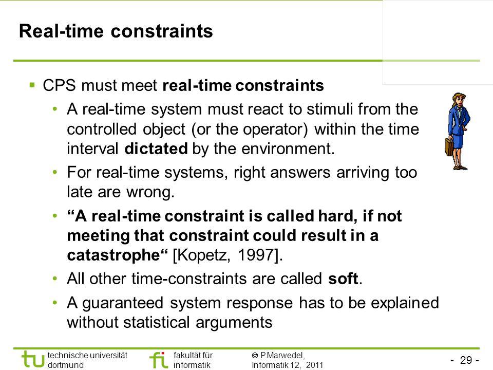 - 29 - technische universität dortmund fakultät für informatik P.Marwedel, Informatik 12, 2011 Real-time constraints CPS must meet real-time constrain