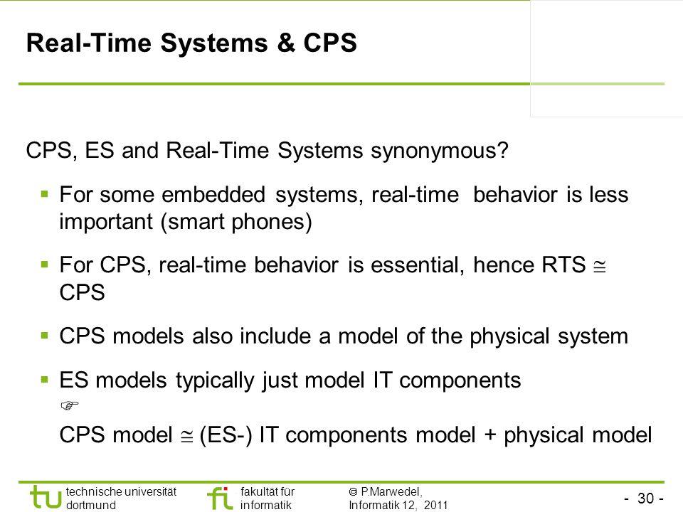 - 30 - technische universität dortmund fakultät für informatik P.Marwedel, Informatik 12, 2011 Real-Time Systems & CPS CPS, ES and Real-Time Systems s