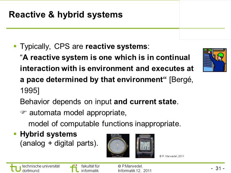 - 31 - technische universität dortmund fakultät für informatik P.Marwedel, Informatik 12, 2011 Reactive & hybrid systems Typically, CPS are reactive s