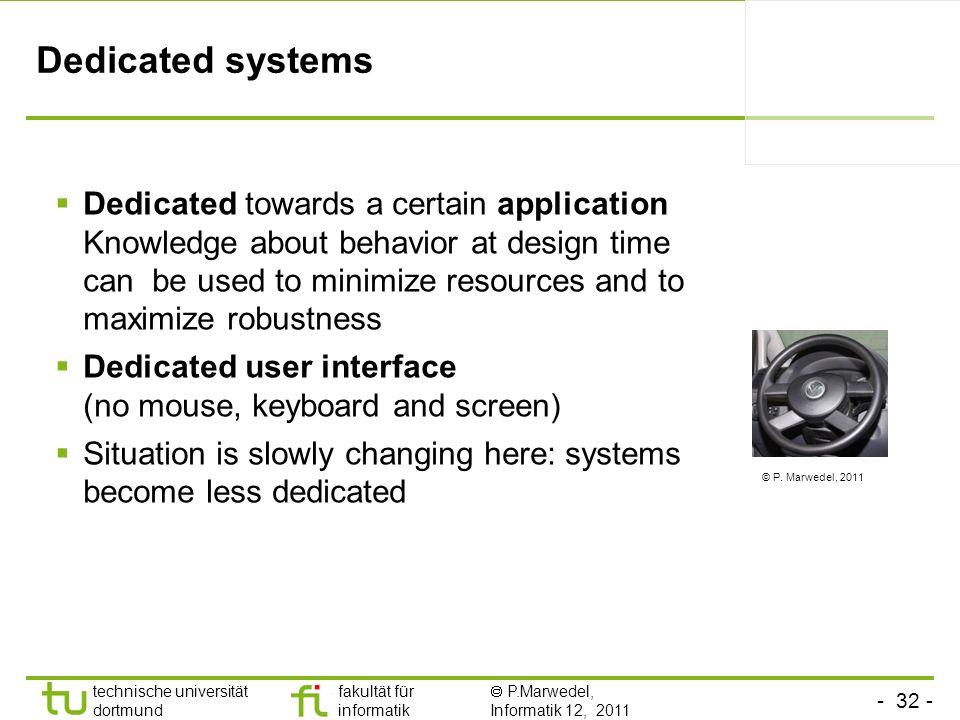- 32 - technische universität dortmund fakultät für informatik P.Marwedel, Informatik 12, 2011 Dedicated systems Dedicated towards a certain applicati