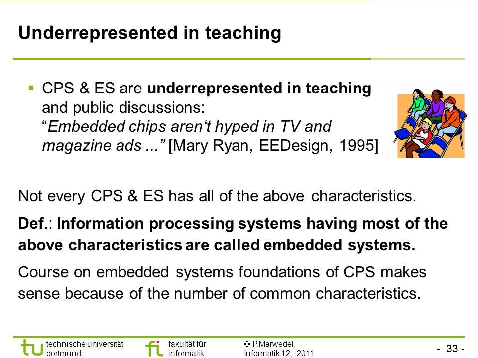 - 33 - technische universität dortmund fakultät für informatik P.Marwedel, Informatik 12, 2011 Underrepresented in teaching Not every CPS & ES has all