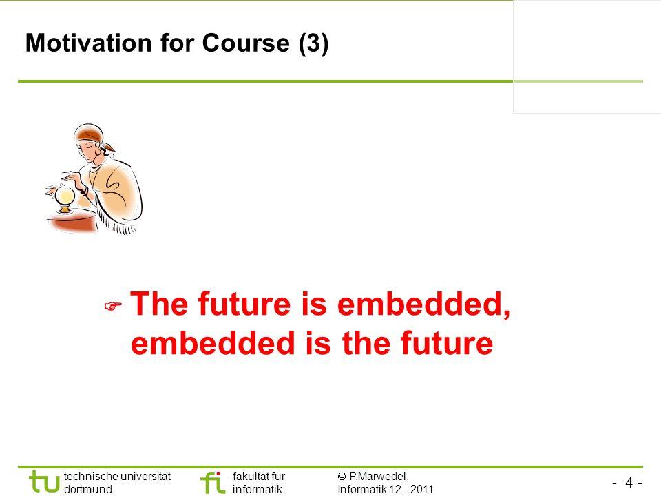 - 35 - technische universität dortmund fakultät für informatik P.Marwedel, Informatik 12, 2011 Slides Slides are available at: http://ls12-www.cs.tu-dortmund.de/~marwedel/es-book Master format: Powerpoint (XP); Derived format: PDF Course announcements