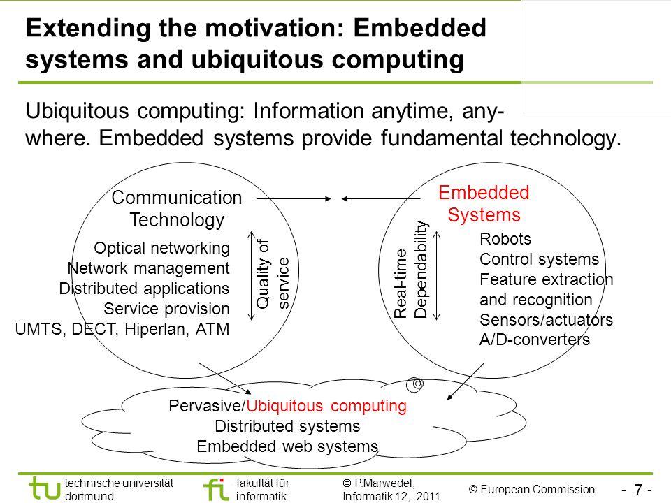 - 7 - technische universität dortmund fakultät für informatik P.Marwedel, Informatik 12, 2011 Extending the motivation: Embedded systems and ubiquitou