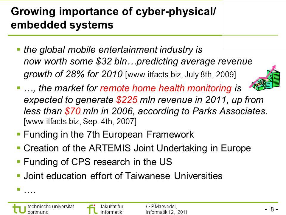 - 8 - technische universität dortmund fakultät für informatik P.Marwedel, Informatik 12, 2011 Growing importance of cyber-physical/ embedded systems t