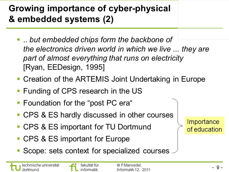 - 9 - technische universität dortmund fakultät für informatik P.Marwedel, Informatik 12, 2011 Growing importance of cyber-physical & embedded systems