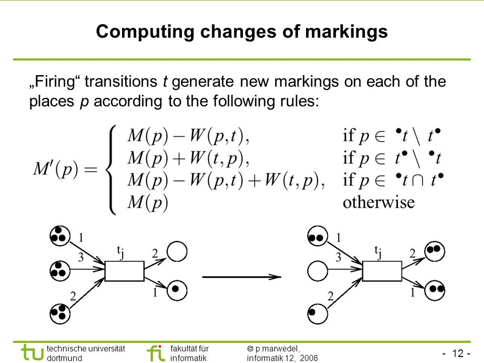 technische universität dortmund fakultät für informatik p.marwedel, informatik 12, 2008 Computing changes of markings Firing transitions t generate new markings on each of the places p according to the following rules: