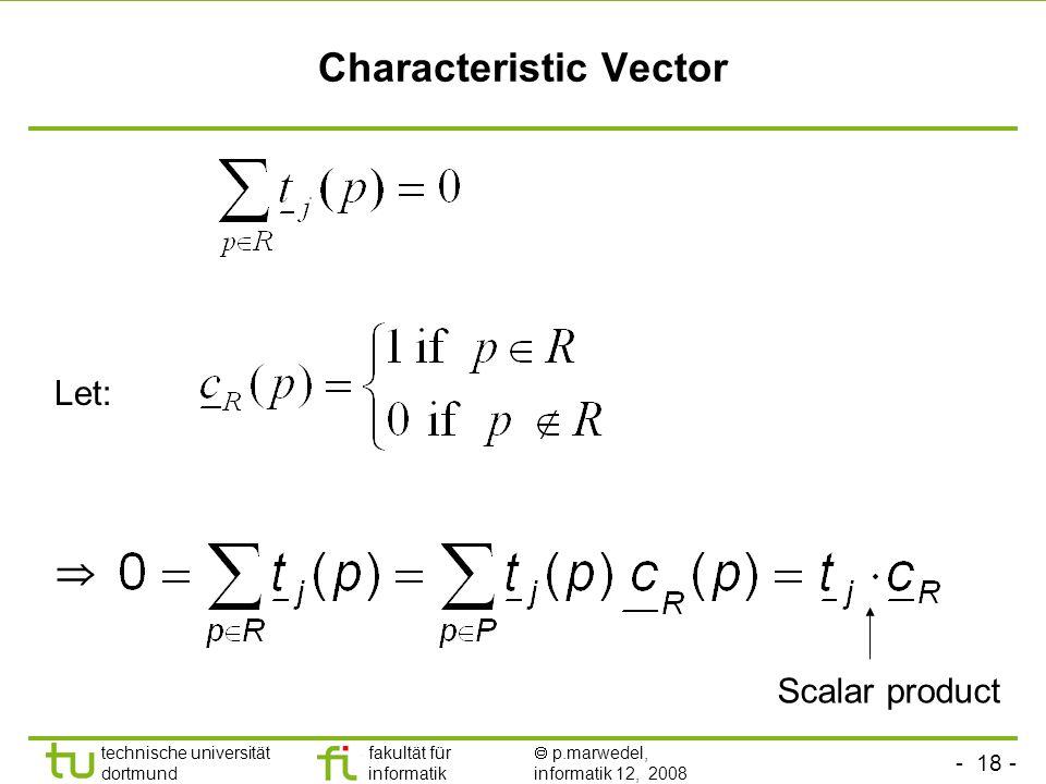 - 18 - technische universität dortmund fakultät für informatik p.marwedel, informatik 12, 2008 Characteristic Vector Let: Scalar product