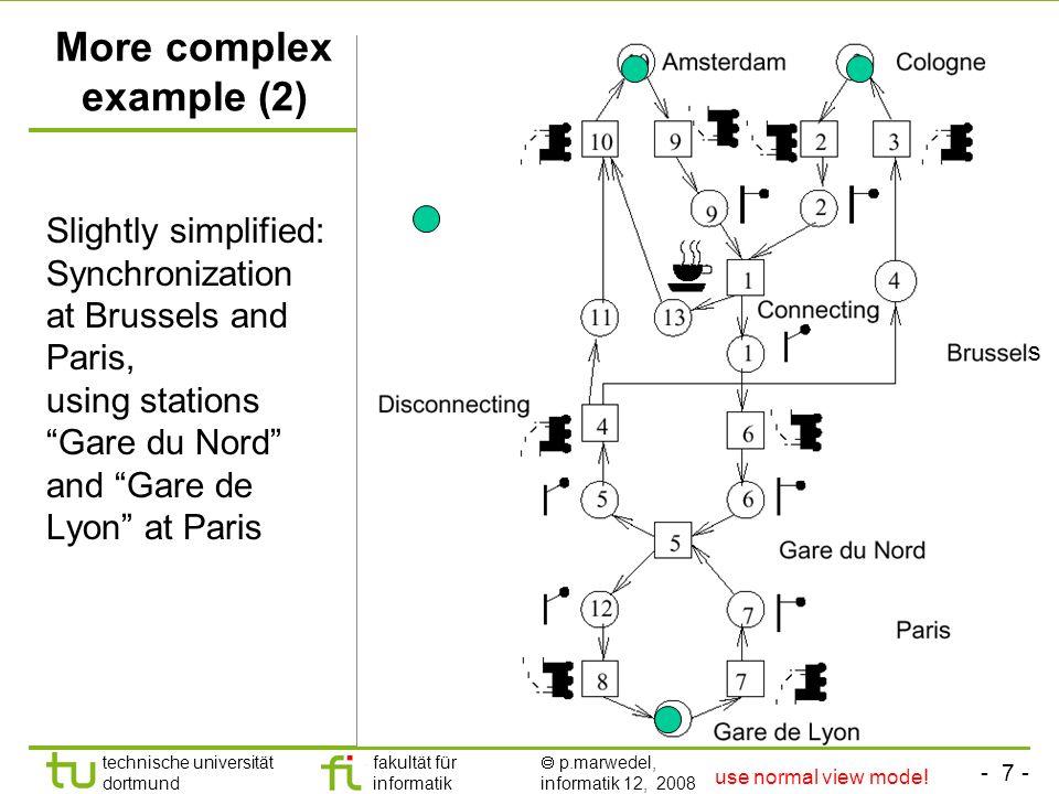 - 7 - technische universität dortmund fakultät für informatik p.marwedel, informatik 12, 2008 s More complex example (2) Slightly simplified: Synchron