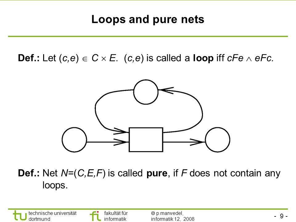 - 9 - technische universität dortmund fakultät für informatik p.marwedel, informatik 12, 2008 Loops and pure nets Def.: Let (c,e) C E. (c,e) is called