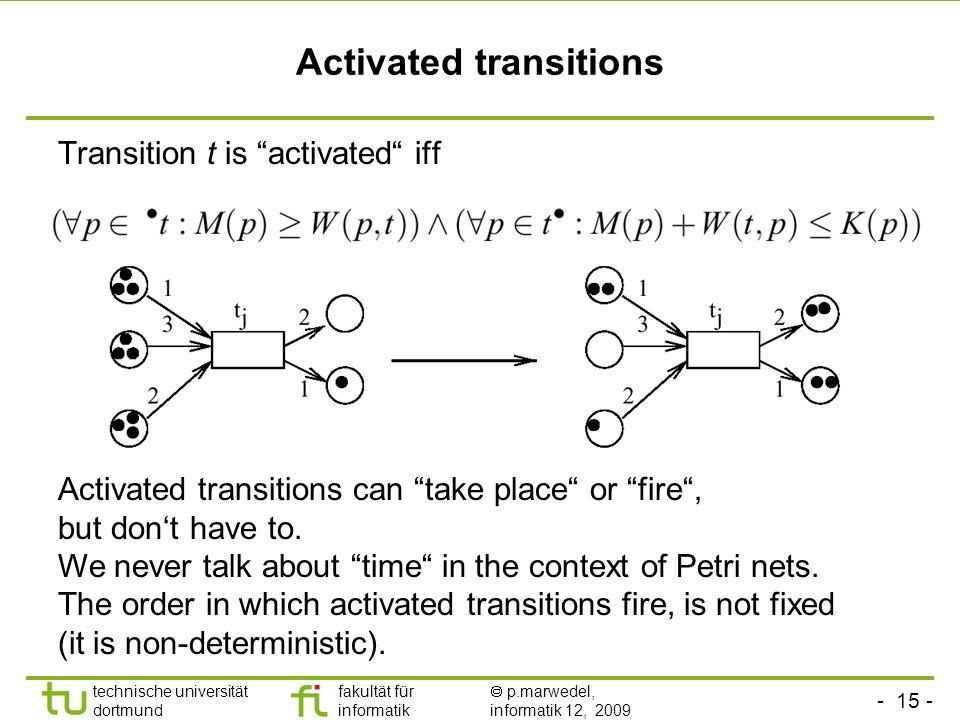 - 15 - technische universität dortmund fakultät für informatik p.marwedel, informatik 12, 2009 Activated transitions Transition t is activated iff Activated transitions can take place or fire, but dont have to.