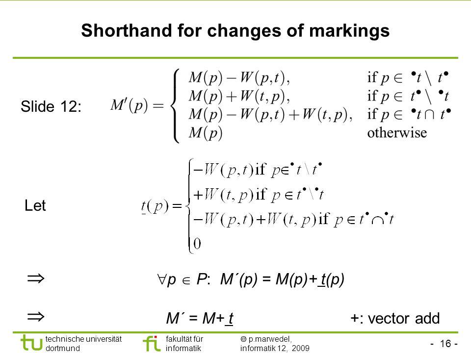- 16 - technische universität dortmund fakultät für informatik p.marwedel, informatik 12, 2009 Shorthand for changes of markings Let p P: M´(p) = M(p)+ t(p) Slide 12: +: vector add M´ = M+ t