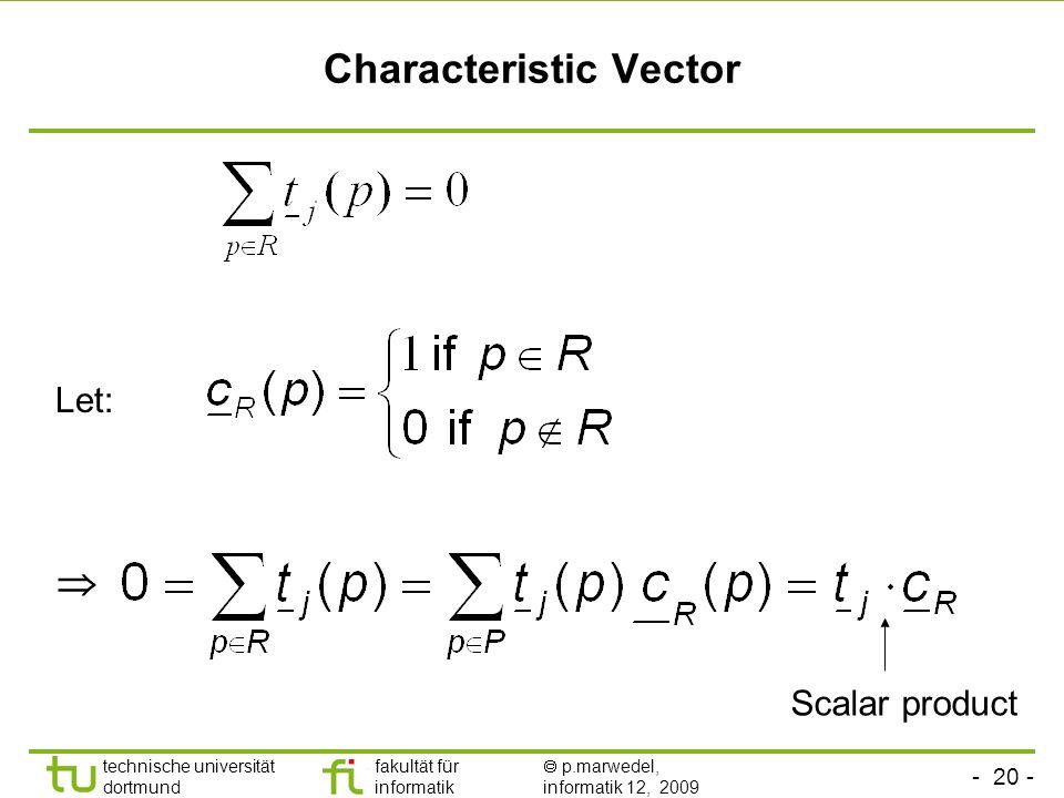 - 20 - technische universität dortmund fakultät für informatik p.marwedel, informatik 12, 2009 Characteristic Vector Let: Scalar product