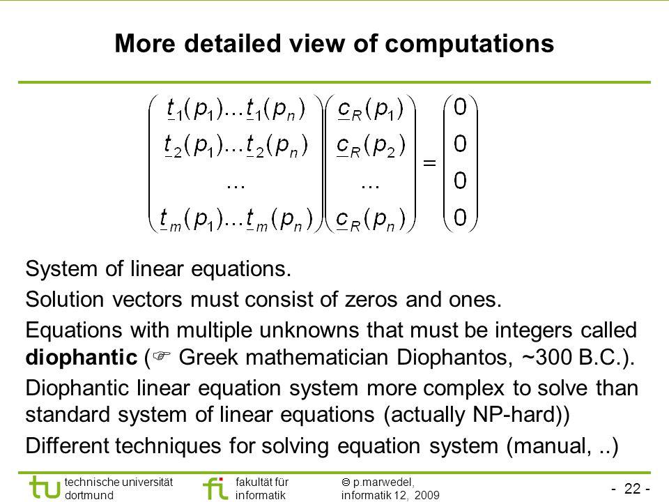 - 22 - technische universität dortmund fakultät für informatik p.marwedel, informatik 12, 2009 More detailed view of computations System of linear equations.