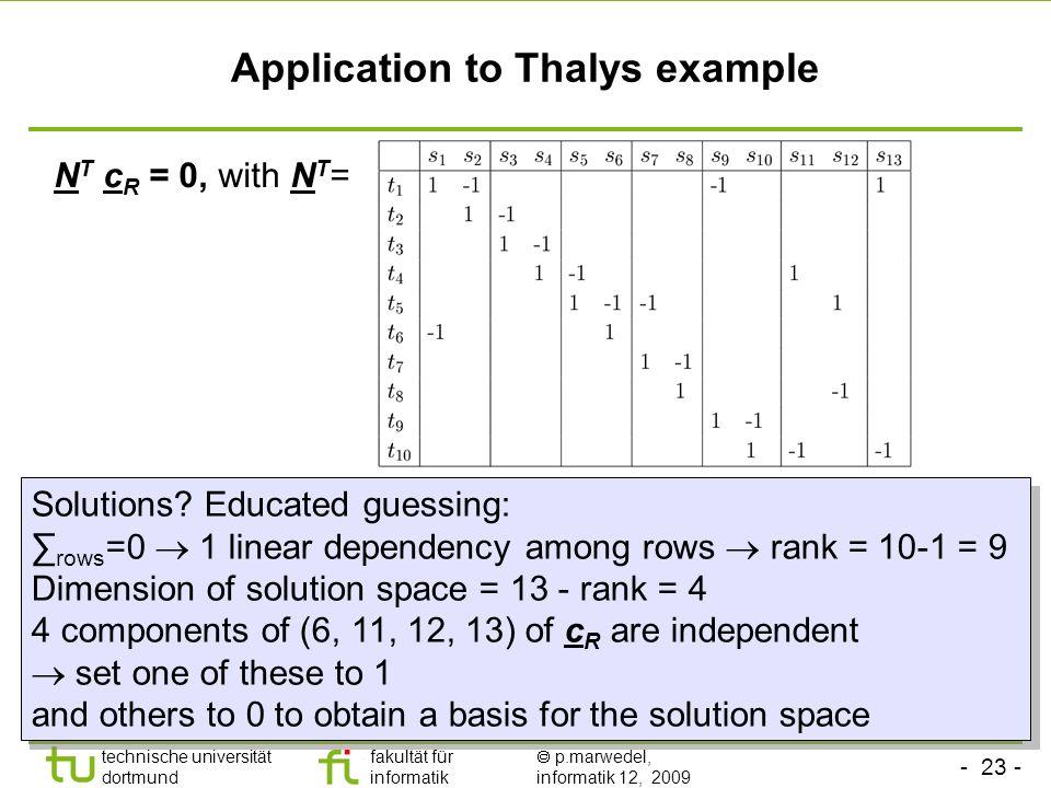 - 23 - technische universität dortmund fakultät für informatik p.marwedel, informatik 12, 2009 Application to Thalys example N T c R = 0, with N T = Solutions.