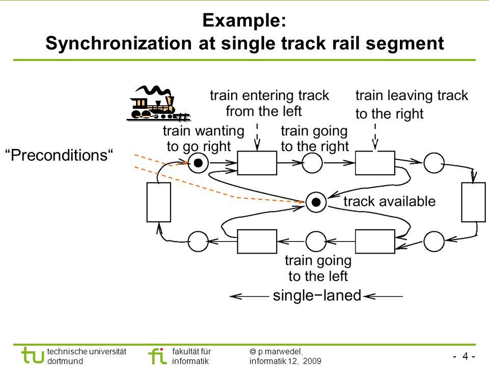 - 4 - technische universität dortmund fakultät für informatik p.marwedel, informatik 12, 2009 Example: Synchronization at single track rail segment Preconditions