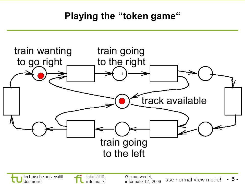 - 5 - technische universität dortmund fakultät für informatik p.marwedel, informatik 12, 2009 Playing the token game use normal view mode!