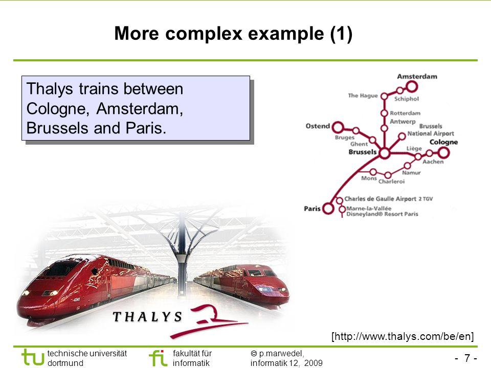 - 7 - technische universität dortmund fakultät für informatik p.marwedel, informatik 12, 2009 More complex example (1) Thalys trains between Cologne, Amsterdam, Brussels and Paris.
