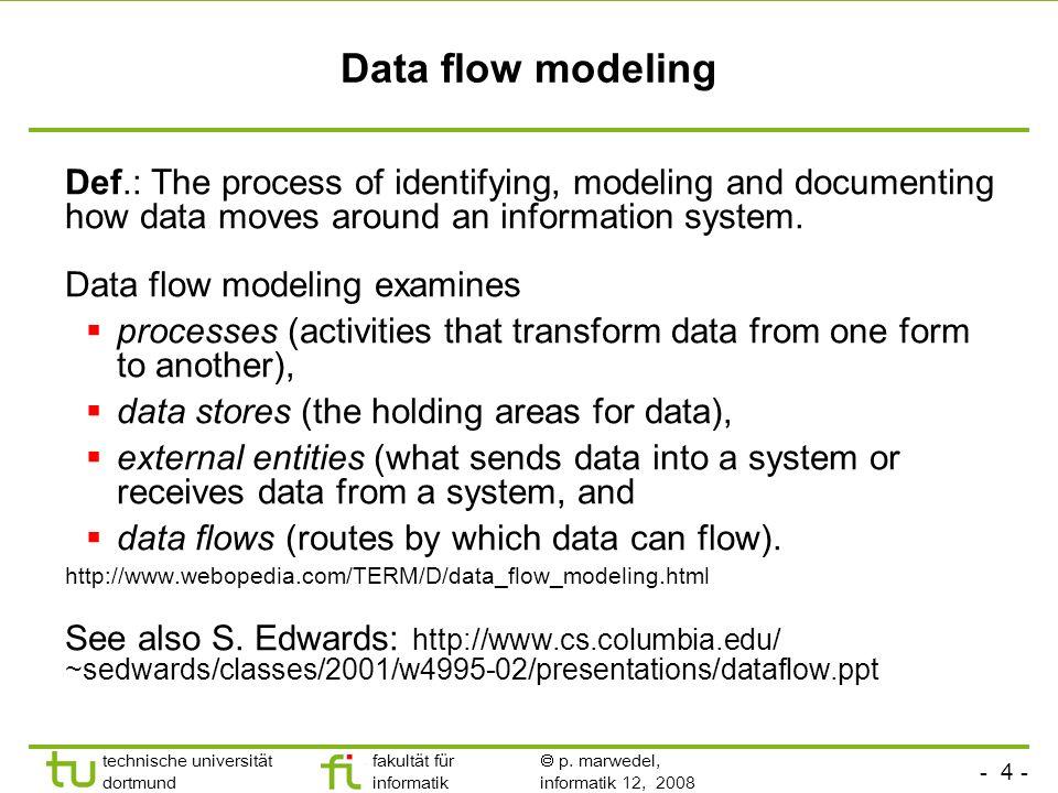 - 4 - technische universität dortmund fakultät für informatik p. marwedel, informatik 12, 2008 Data flow modeling Def.: The process of identifying, mo