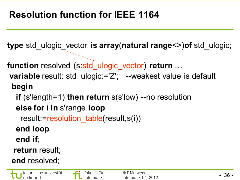 technische universität dortmund fakultät für informatik P.Marwedel, Informatik 12, 2012 Resolution function for IEEE 1164 type std_ulogic_vector is array(natural range<>)of std_ulogic; function resolved (s:std_ulogic_vector) return … variable result: std_ulogic:= Z ; --weakest value is default begin if (s length=1) then return s(s low) --no resolution else for i in s range loop result:=resolution_table(result,s(i)) end loop end if; return result; end resolved;