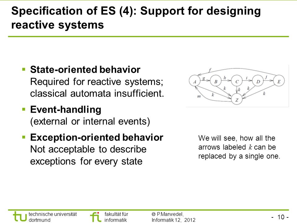 - 10 - technische universität dortmund fakultät für informatik P.Marwedel, Informatik 12, 2012 Specification of ES (4): Support for designing reactive systems State-oriented behavior Required for reactive systems; classical automata insufficient.