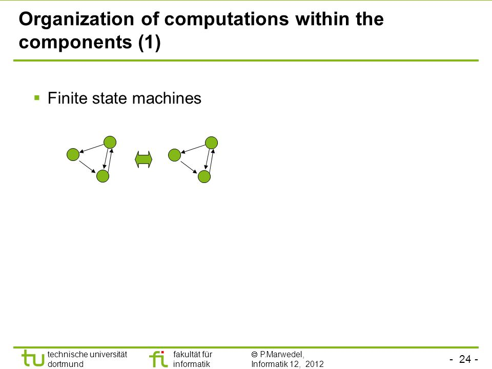 - 24 - technische universität dortmund fakultät für informatik P.Marwedel, Informatik 12, 2012 Organization of computations within the components (1) Finite state machines