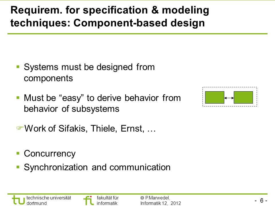 - 6 - technische universität dortmund fakultät für informatik P.Marwedel, Informatik 12, 2012 Requirem.