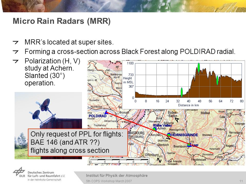 Institut für Physik der Atmosphäre 11 5th COPS Workshop March 2007 Micro Rain Radars (MRR) MRRs located at super sites. Forming a cross-section across