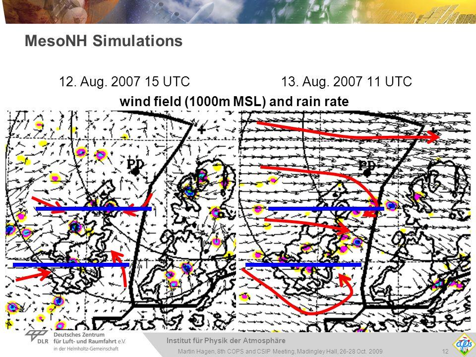 Institut für Physik der Atmosphäre 12Martin Hagen, 8th COPS and CSIP Meeting, Madingley Hall, 26-28 Oct. 2009 12. Aug. 2007 15 UTC 13. Aug. 2007 11 UT