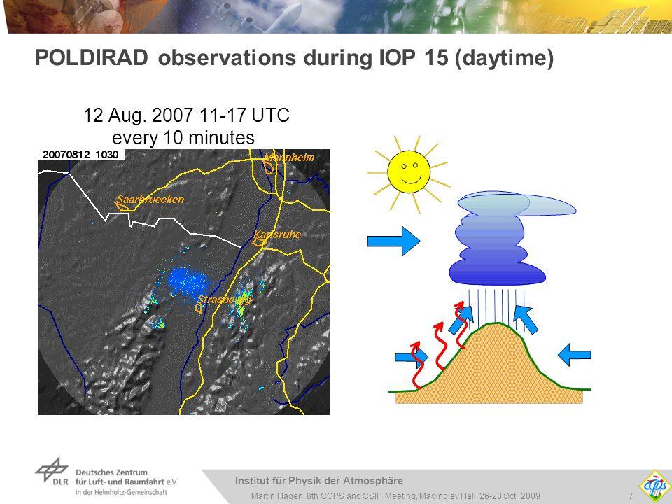 Institut für Physik der Atmosphäre 7Martin Hagen, 8th COPS and CSIP Meeting, Madingley Hall, 26-28 Oct. 2009 POLDIRAD observations during IOP 15 (dayt