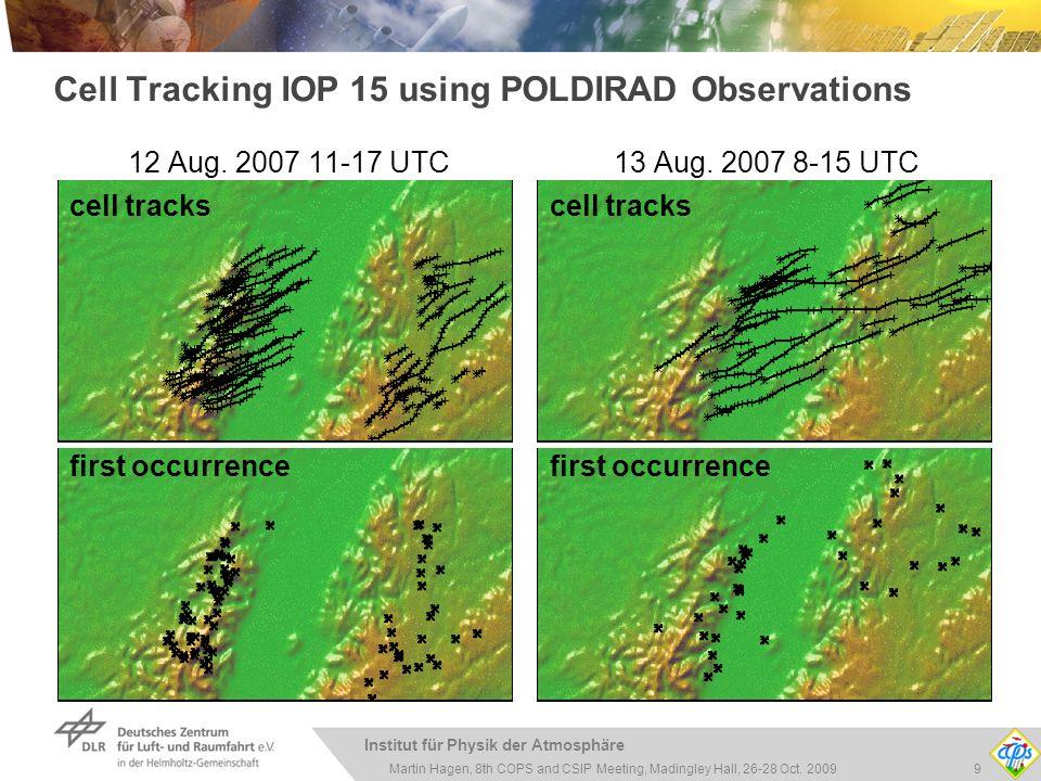 Institut für Physik der Atmosphäre 9Martin Hagen, 8th COPS and CSIP Meeting, Madingley Hall, 26-28 Oct. 2009 Cell Tracking IOP 15 using POLDIRAD Obser