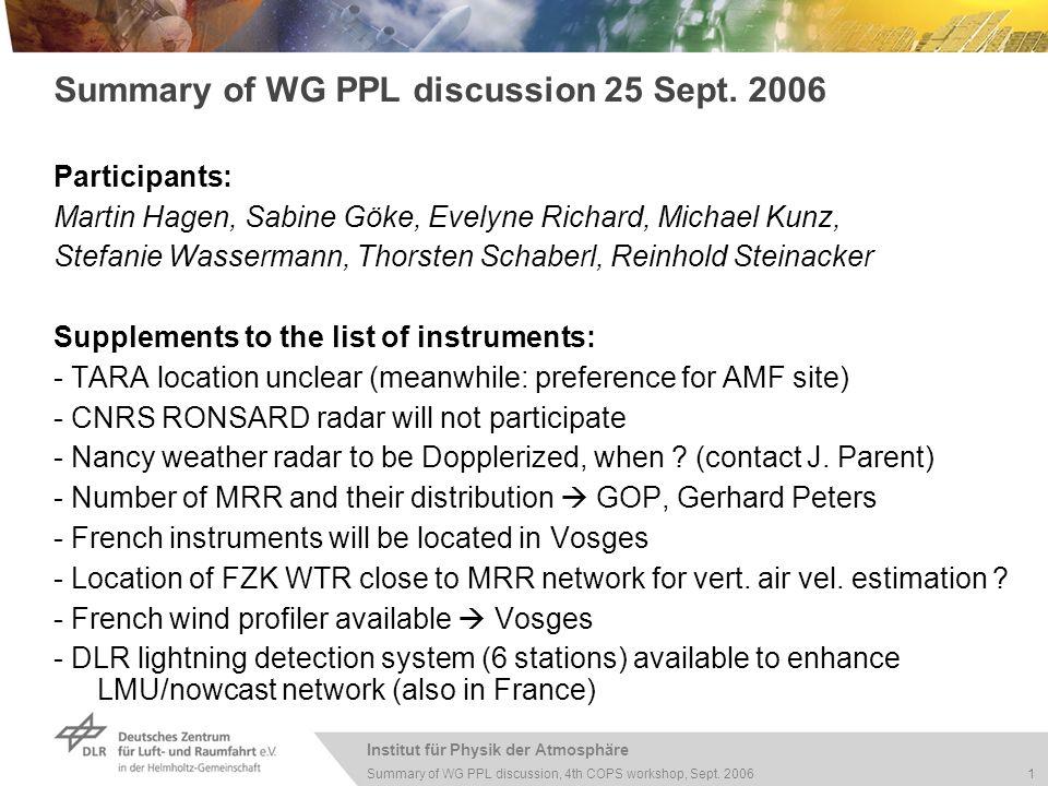 Institut für Physik der Atmosphäre 1 Summary of WG PPL discussion, 4th COPS workshop, Sept.