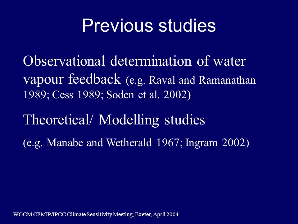 WGCM CFMIP/IPCC Climate Sensitivity Meeting, Exeter, April 2004 Previous studies Observational determination of water vapour feedback (e.g.