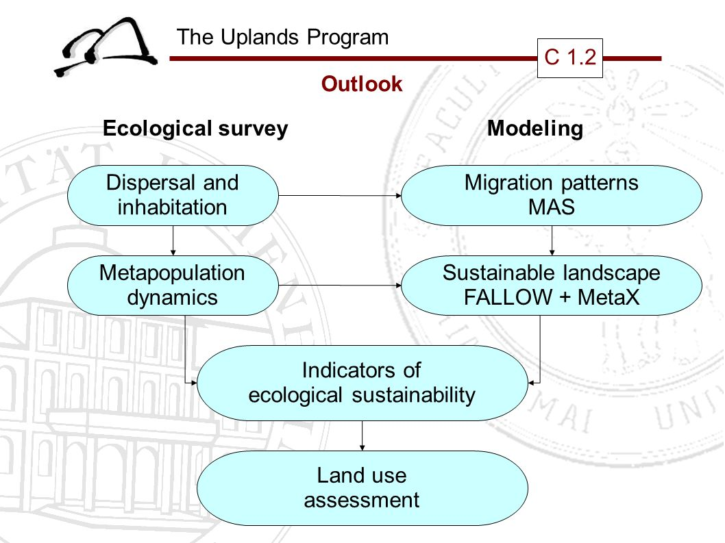 The Uplands Program C 1.2 Outlook Ecological surveyModeling Dispersal and inhabitation Metapopulation dynamics Indicators of ecological sustainability Land use assessment Migration patterns MAS Sustainable landscape FALLOW + MetaX