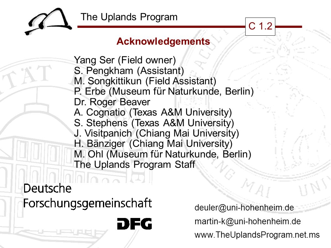 The Uplands Program C 1.2 Acknowledgements Yang Ser (Field owner) S.