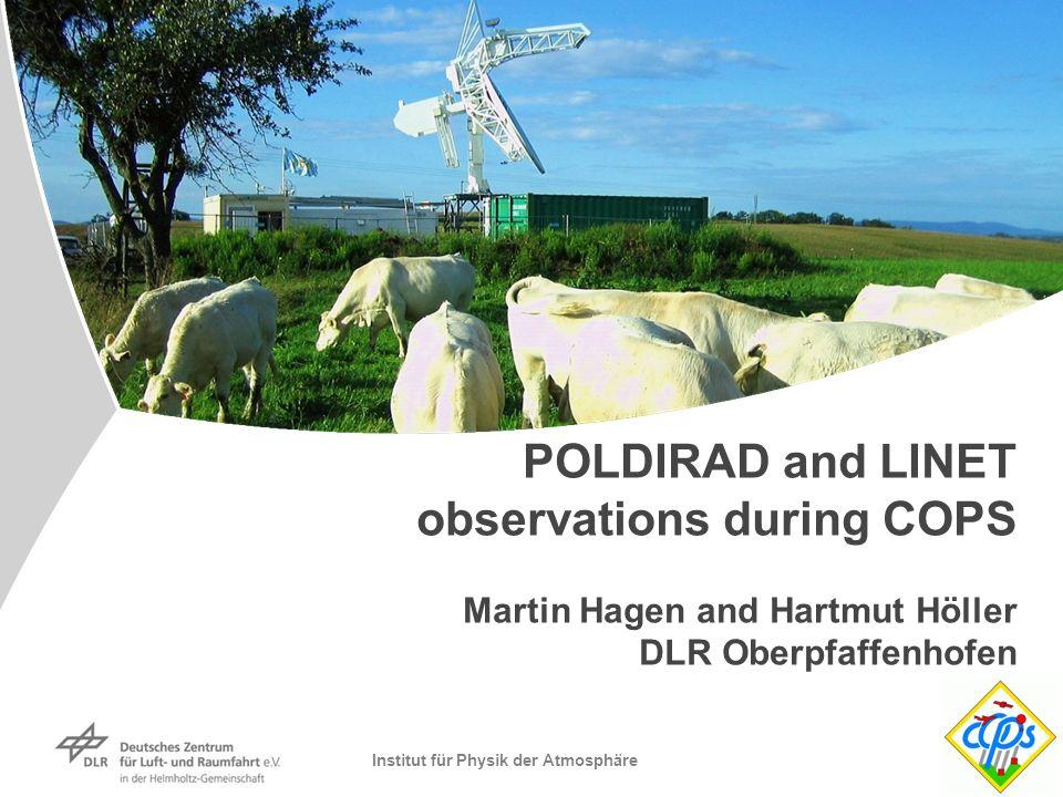 Institut für Physik der Atmosphäre POLDIRAD and LINET observations during COPS Martin Hagen and Hartmut Höller DLR Oberpfaffenhofen
