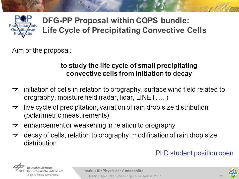 Institut für Physik der Atmosphäre 12Martin Hagen, COPS-Workshop, Toulouse, Dec. 2007 DFG-PP Proposal within COPS bundle: Life Cycle of Precipitating