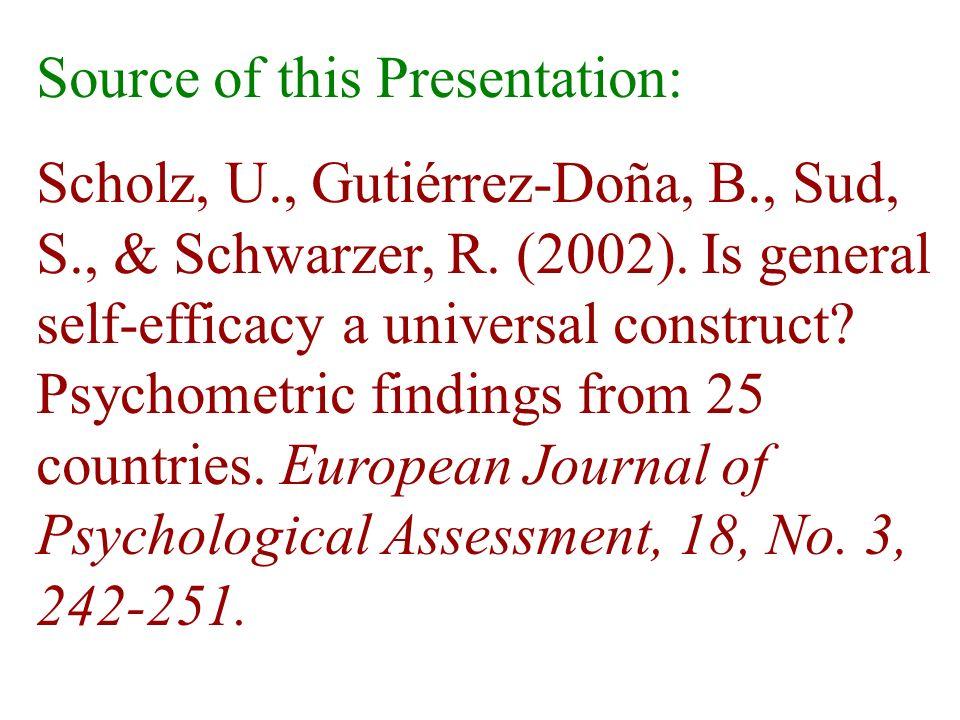 Source of this Presentation: Scholz, U., Gutiérrez-Doña, B., Sud, S., & Schwarzer, R. (2002). Is general self-efficacy a universal construct? Psychome