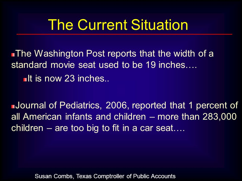 The Washington Post reports that the width of a standard movie seat used to be 19 inches…. It is now 23 inches.. Journal of Pediatrics, 2006, reported
